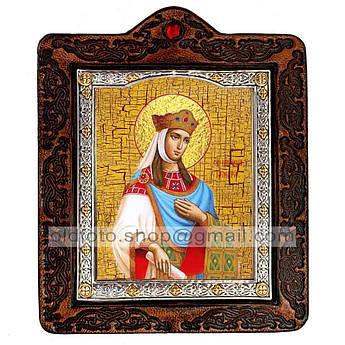 Икона Тамара Святая Царица Великая  ,икона на коже 80х100 мм