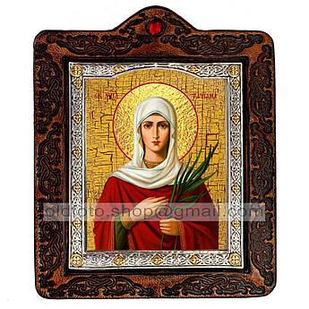 Икона Татиана (Татьяна) Святая Мученица  ,икона на коже 80х100 мм