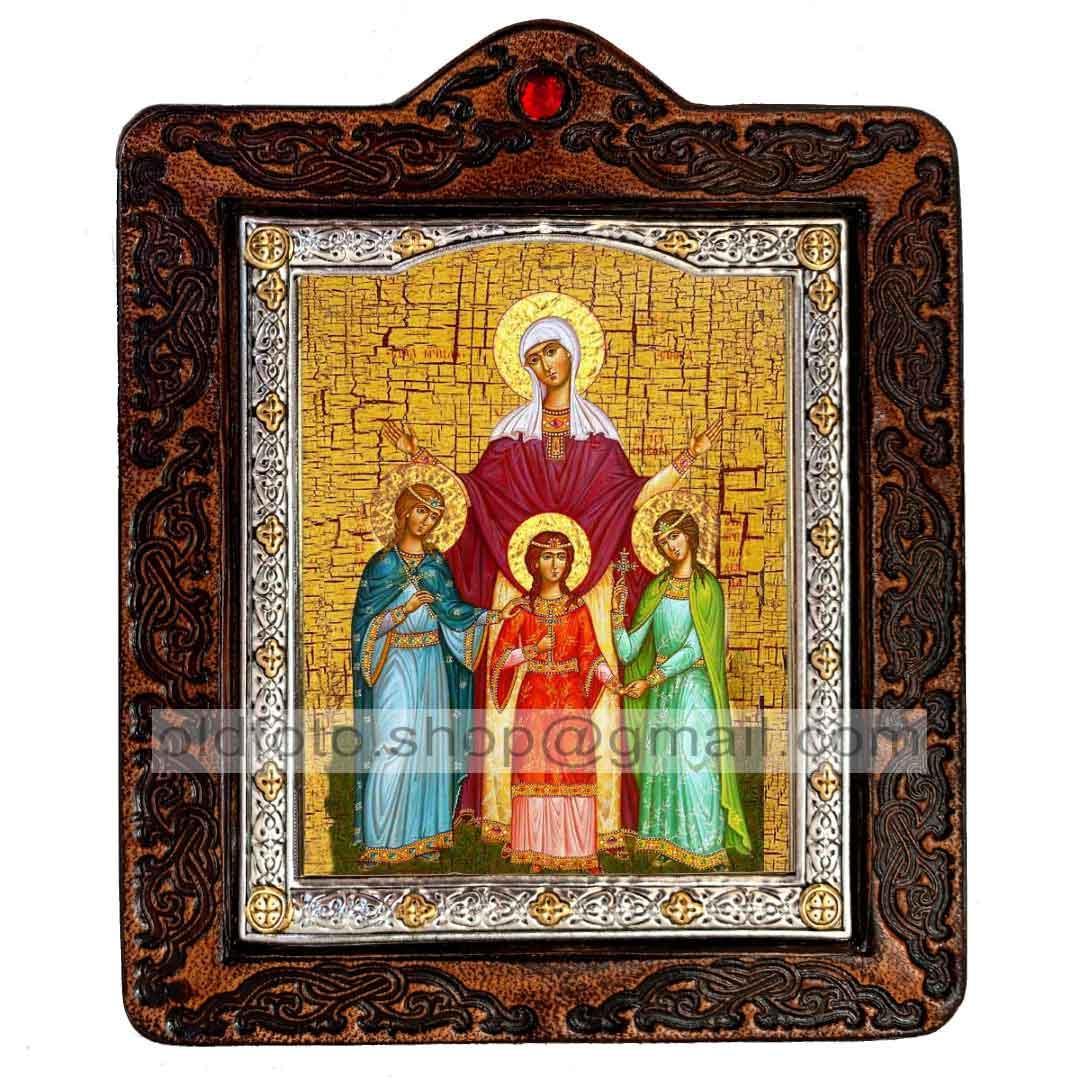 Икона Вера, Надежда, Любовь и мать их София Святые Мученицы (на коже 80х100мм)