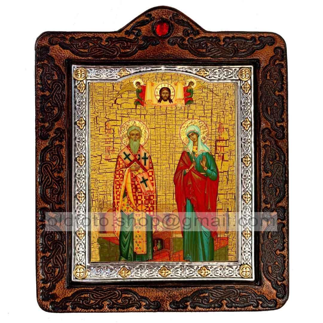 Ікона Кіпріан і Іустина Святих Великомучеників (на шкірі 80х100мм)