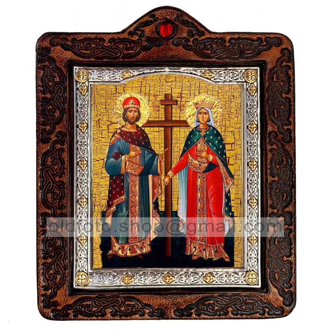 Икона Константин и Елена Святые Равноапостольные  ,икона на коже 80х100 мм