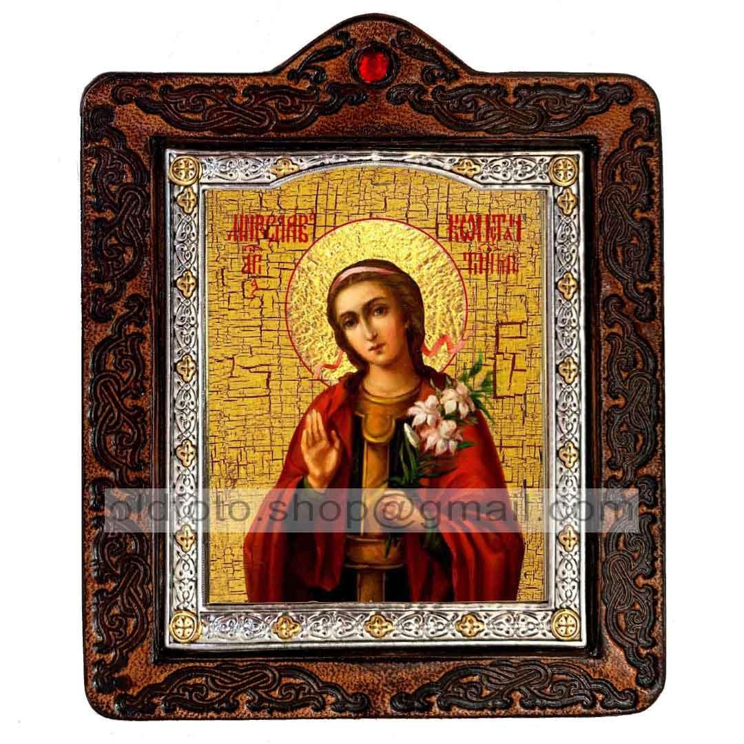 Икона Мирослава Святая мученица  ,икона на коже 80х100 мм