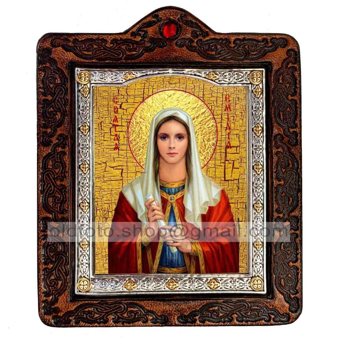 Икона Емилия Святая Кесарийская  (на коже 80х100мм)