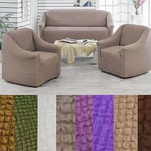 Универсальные натяжные  чехлы накидки съемные на диван и кресла без оборки жатка Серый