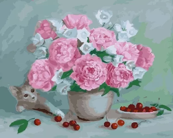 "Картина по номерам. Rainbow Art ""Цветы,вишни и  котёнок"" GX23647-RA"