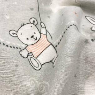 """Фланель """"Мишки, зайки в пудровых футболках на сером"""", фото 2"""
