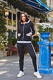 Женский теплый спортивный костюм двойка кофта на молнии+штаны трехнить+плащевка размер:48-50,52-54, фото 3