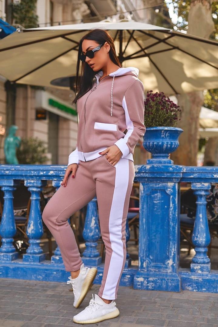 Женский теплый спортивный костюм двойка кофта на молнии+штаны трехнить+плащевка размер:48-50,52-54