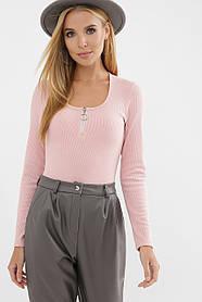 Красивое боди нежно-розового цвета из трикотажа, размер S, M, L, XL