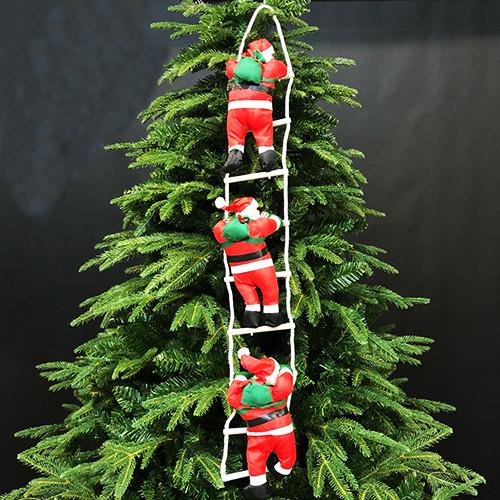 """Новогоднее подвесное украшение """"Три Санта Клауса на лестнице"""" высота одной фигуры 25см"""