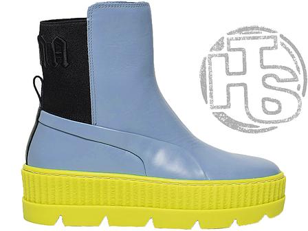 Женские ботинки Puma Chelsea Sneaker Boot Rihanna Fenty Sterling Blue Black-Limeade 366266-01, фото 2
