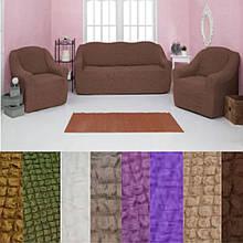 Универсальные натяжные  чехлы накидки съемные на диван и кресла без оборки жатка Коричневый