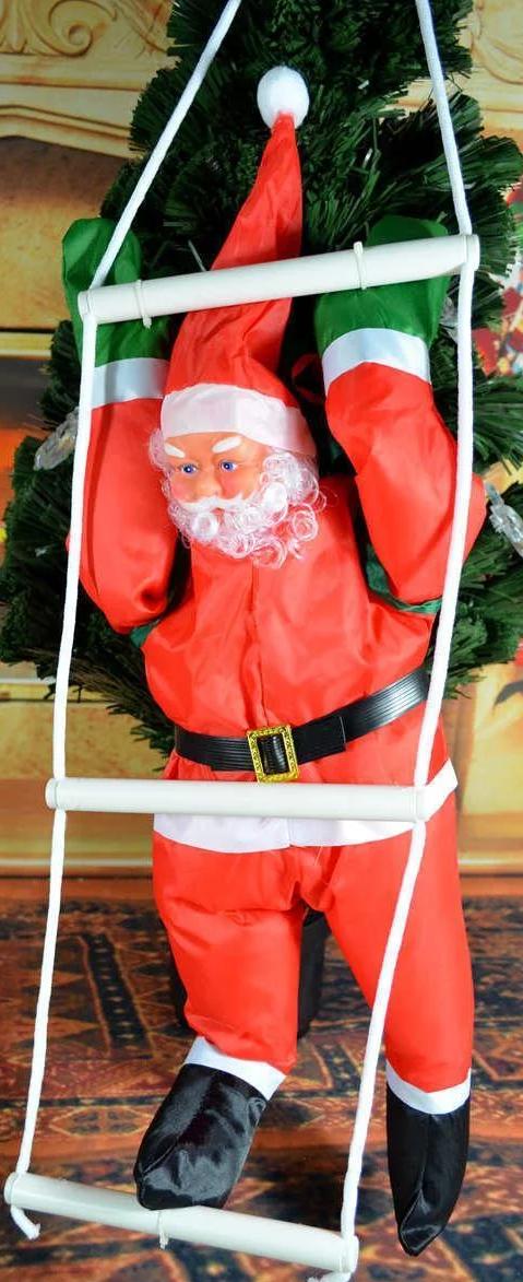 """Новогоднее подвесное украшение """"Санта Клаус на лестнице"""" высота фигуры 50см"""