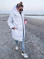 Женский зимний пуховик с капюшоном, стильный пуховик, свободный пуховик, модная куртка длинная