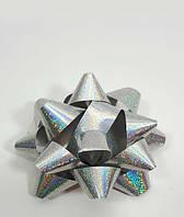 Новорічний срібний бант 7-8см поліпропіленовий, фото 1