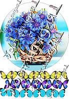 Пищевая вафельная картинка Цветы 30