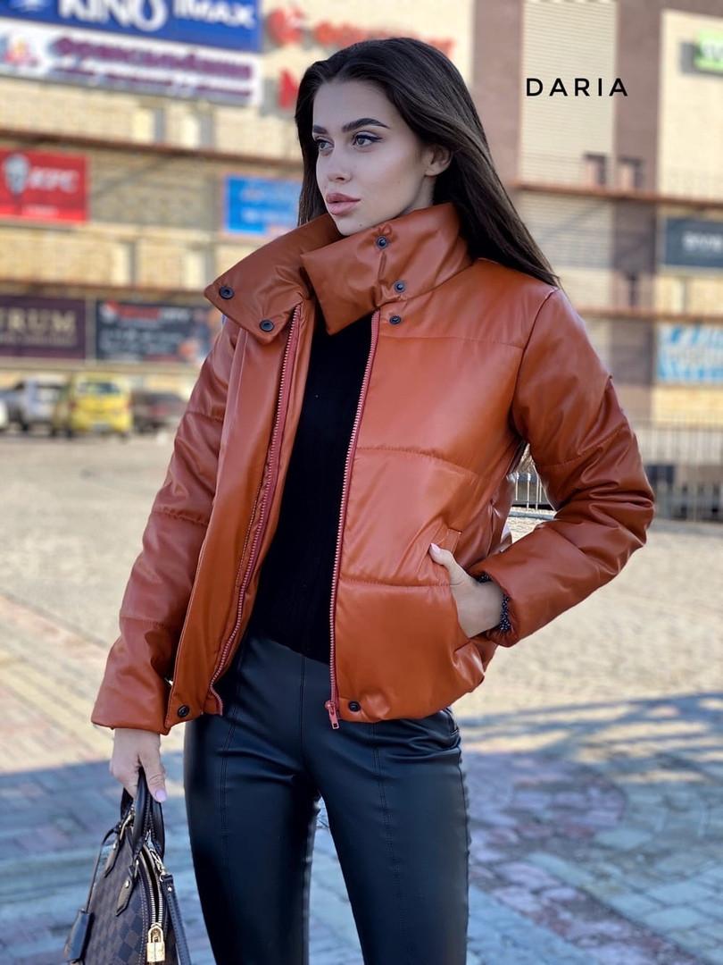 Крута куртка еко шкіра,утеплювач-синтепон 200. Розмір:42-46. Різні кольори (100 )