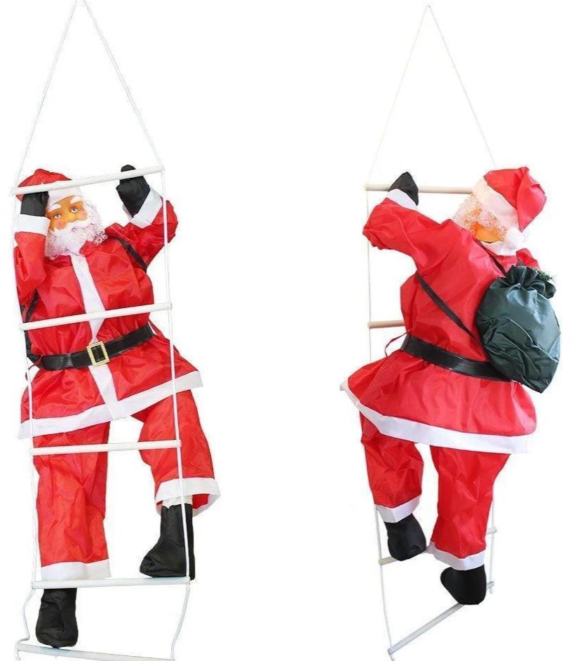 """Новогоднее подвесное украшение """"Санта Клаус на лестнице"""" высота фигуры 120см"""