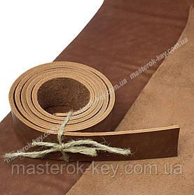 Полоса ременная из кожи растительного дубления без финишного покрытия 1100*34*4 мм цвет коньяк