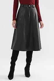 Кожаная женская юбка-трапеция чёрного цвета, размер S, M, L, XL