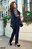 Нарядный темно-синий костюм брюки + блузка р. 50-52, 54-56, 58-60, 62-64, фото 2