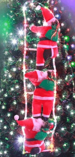 """Новогоднее подвесное украшение с LED-подсветкой """"Три Санта Клауса на лестнице"""" высота одной фигуры 35см"""