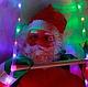 """Новогоднее подвесное украшение с LED-подсветкой """"Три Санта Клауса на лестнице"""" высота одной фигуры 35см, фото 3"""