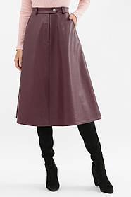 Бордовая женская юбка А-силуэта из кожи, размер S, M, L, XL