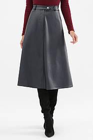 Стильная женская синяя юбка из кожи на флисе, размер S, M, L, XL