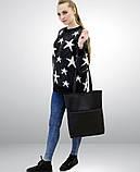 Вместительная женская черная сумка шоппер с большим карманом на молнии и двумя ручками матовая эко-кожа, фото 9