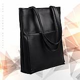 Вместительная женская черная сумка шоппер с большим карманом на молнии и двумя ручками матовая эко-кожа, фото 7