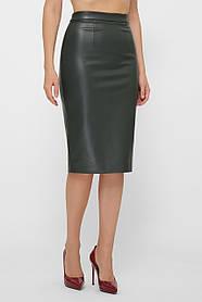 Прямая женская зелёная юбка из кожи до колен, размер S, M, L, XL
