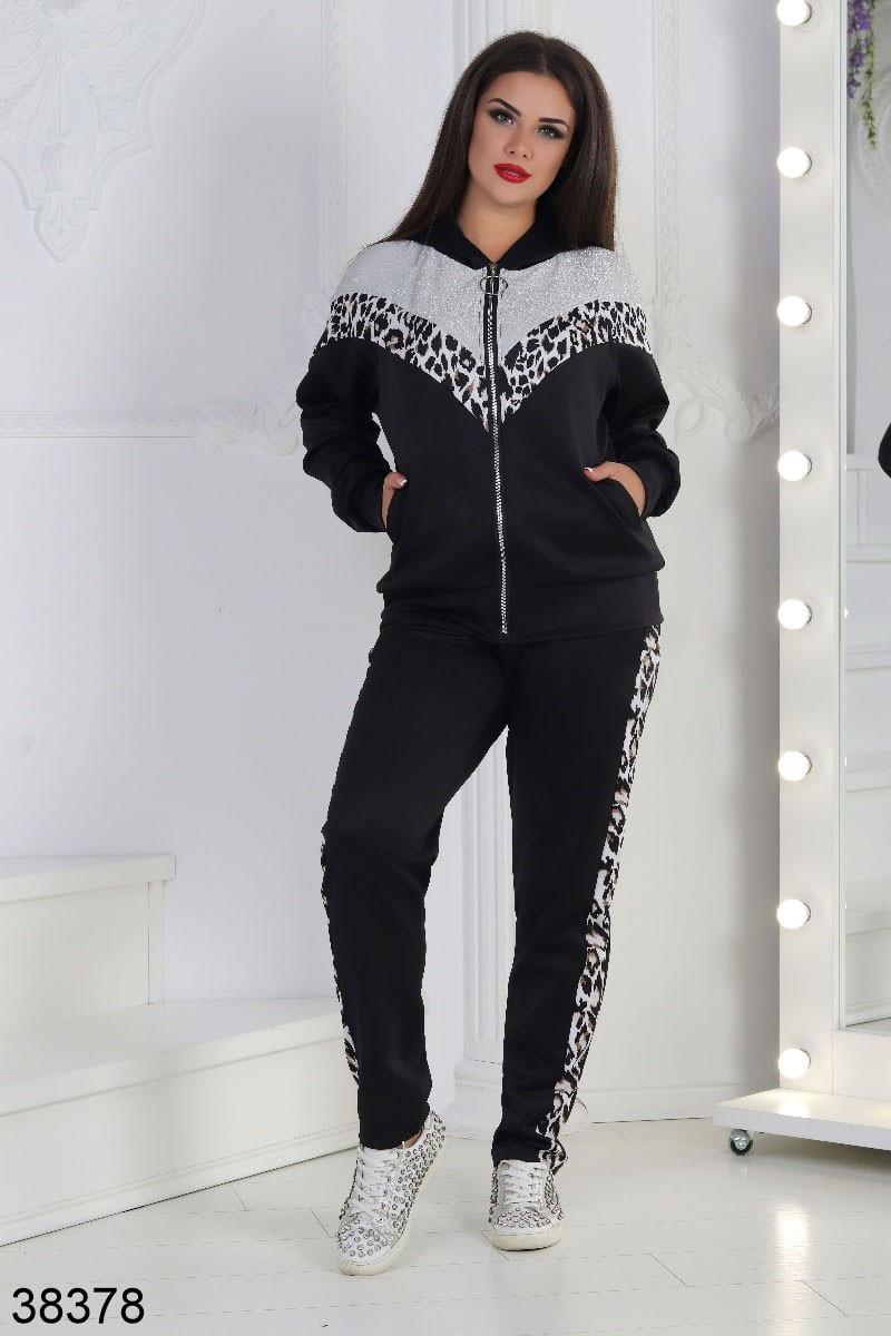 Женский спортивный костюм с леопардовым принтом р. 54, 56
