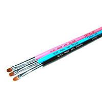 Кисть для геля № 6(синяя ручка, полукруглый ворс)