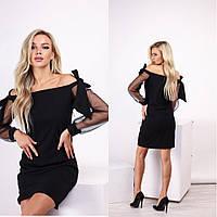 Черное элегантное вечернее короткое платье с прозрачными рукавами и открытыми плечами р.42-46. Арт-3554/30