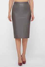 Облегающая женская серая юбка из кожи, размер S, M, L, XL