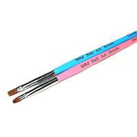 Кисть для геля № 4(синяя ручка, прямой ворс)
