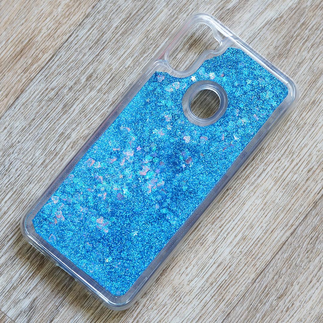 Чехол аквариум для Samsung Galaxy A11 (SM-A115)   синие блестки   жидкий блеск