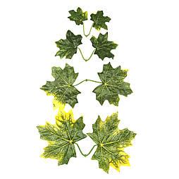 Штучні листя клена зеленого-жовті подвійні 25 шт в уп