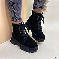 Ботинки зимние женские натуральная замша, фото 1