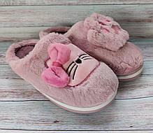 Детские тапочки тапки теплые комнатные для дома для девочки домашние розовые котики 34/35р, фото 2