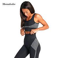 Женский костюм для фитнеса черный размер S