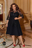 Вечернее черное платье миди с вышивкой батал