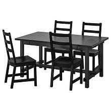 NORDVIKEN НОРДВІКЕН / NORDVIKEN НОРДВІКЕН, Стіл+4 стільці, чорний, чорний152/223x95 см