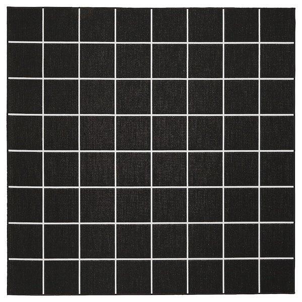 SVALLERUP СВАЛЛЕРУП, Килим, пласке плетіння, приміщ/вул, двосторонній, чорний, білий200x200 см