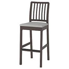 EKEDALEN ЕКЕДАЛЕН, Барний стілець зі спинкою, темно-коричневий, ОРРСТА світло-сірий75 см