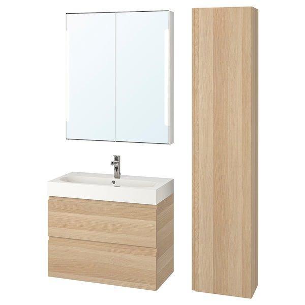 GODMORGON ГОДМОРГОН / BRÅVIKEN БРОВІКЕН, Меблі для ванної кімнати, набір 5шт, під білений дуб, BRODRUND