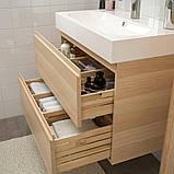 GODMORGON ГОДМОРГОН / BRÅVIKEN БРОВІКЕН, Меблі для ванної кімнати, набір 5шт, під білений дуб, BRODRUND, фото 3