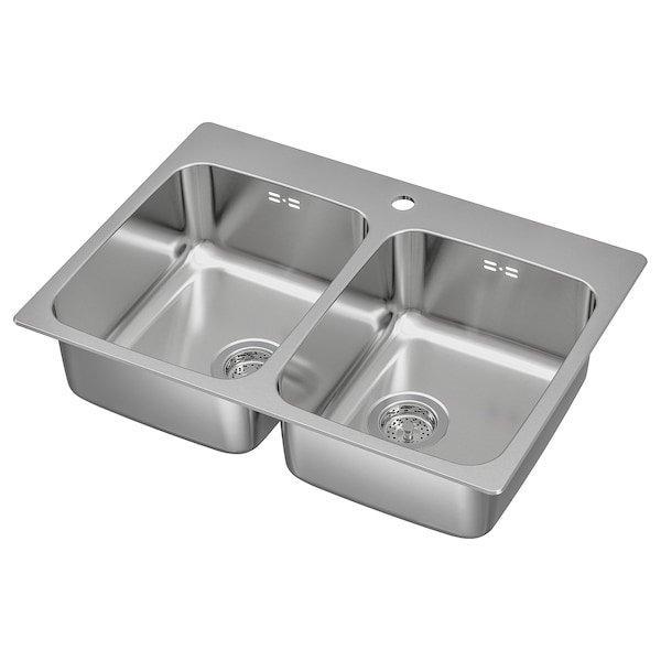 LÅNGUDDEN ЛОНГУДДЕН, Подвійна врізна мийка, нержавіюча сталь75x53 см