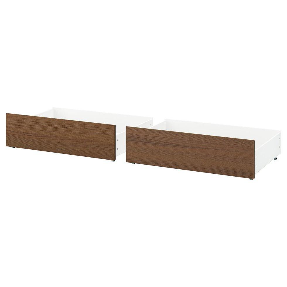 MALM МАЛЬМ, Короб під ліж для висок каркаса ліж, коричнева морилка ясеневий шпон200 см